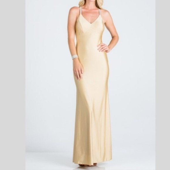 La Scala Dresses & Skirts - Rhinestone Strap Mermaid Gown in Toffee